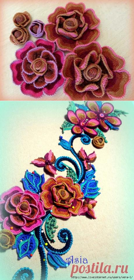 Мастер-классы к этой красоте от Аси(Галины) Вертен. Мотив « Роза» Часть 1