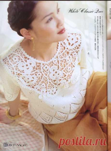 Вяжем очень красивый пуловер спицами с ажурной кокеткой крючком