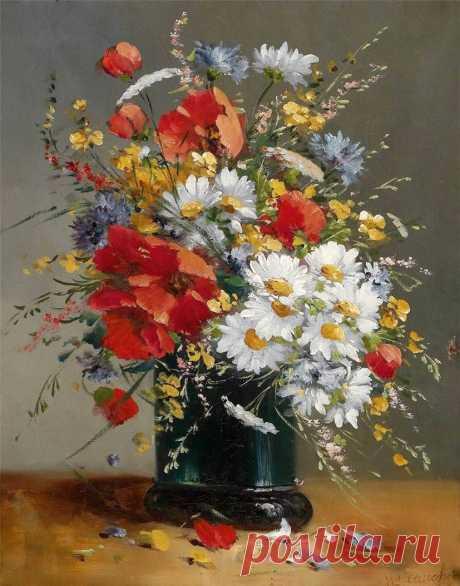 Цветочные натюрморты...  Eugene Henri Cauchois (French, 1850-1911)