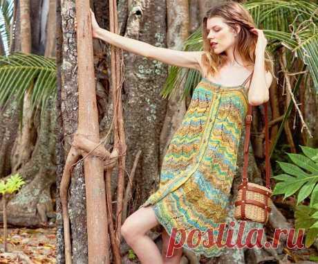 Платье-сарафан в полоску с застежкой на пуговицы | Клуб вязания и рукоделия | Яндекс Дзен