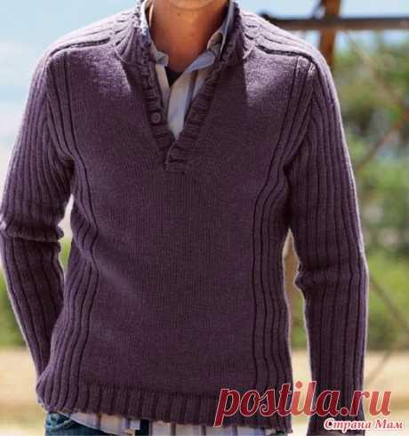 . Мужской пуловер спицами (описание) - Вязание - Страна Мам