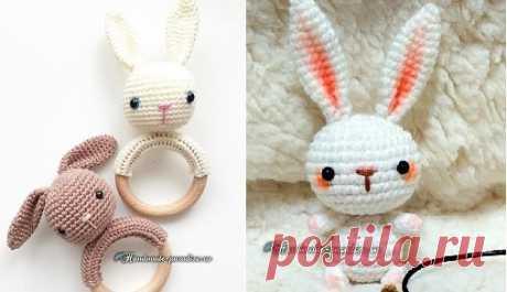 Вязание крючком кроликов амигуруми может пригодится к празднику светлой Пасхи. Кролика можно связать в качестве погремушки или брелка для ключей.