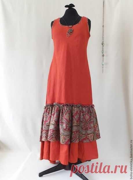 """Купить ЛЕТО! Платье-сарафан льняной """" красный этно"""" - однотонный, бохо стиль, бохо"""