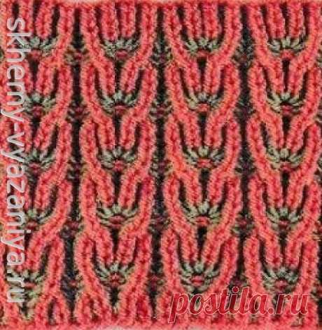 Двухцветные колоски в технике бриошь - схема вязания узора спицами