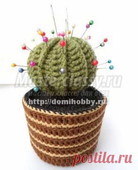 Вязаный кактус - игольница крючком. Мастер-класс с фото / Мастерклассы Блоги