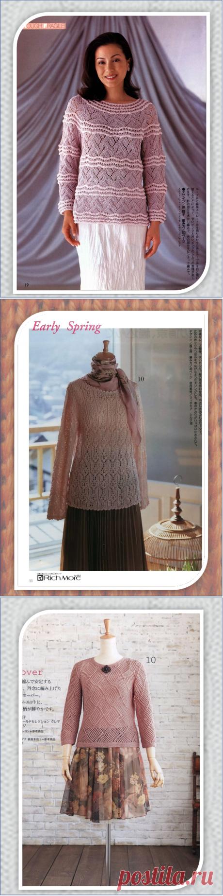 Семь романтичных вязанных на спицах пуловеров из японских журналов | Embroidery art | Яндекс Дзен