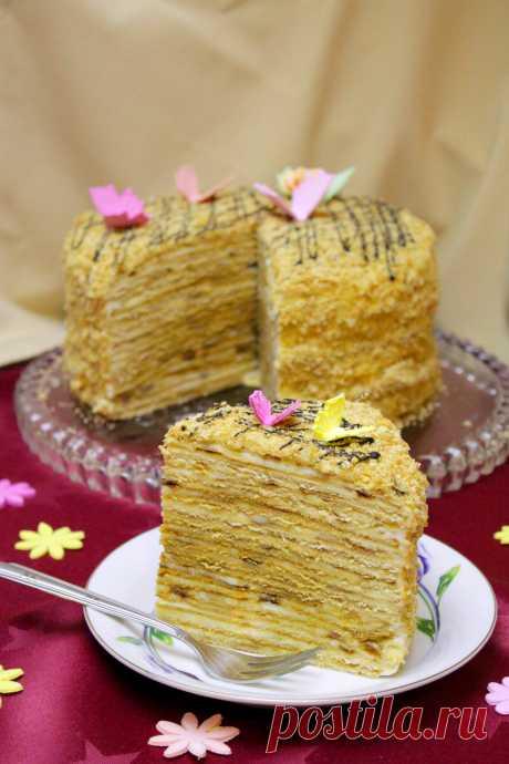 Медовый торт горячим способом. Без духовки. Высокий, нежный, вкусный, ароматный.   Домашний ресторан.Рецепты   Яндекс Дзен