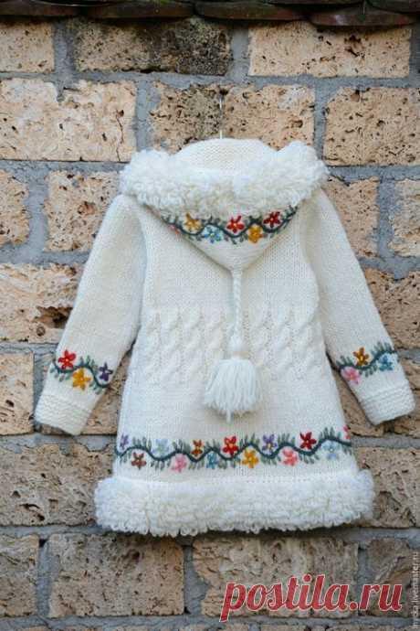 Верхняя одежда ручной работы. Заказать Детское пальто 16cj02. Мастерская 'WOOL-ART'. Ярмарка Мастеров. Орнамент, вязаный мех