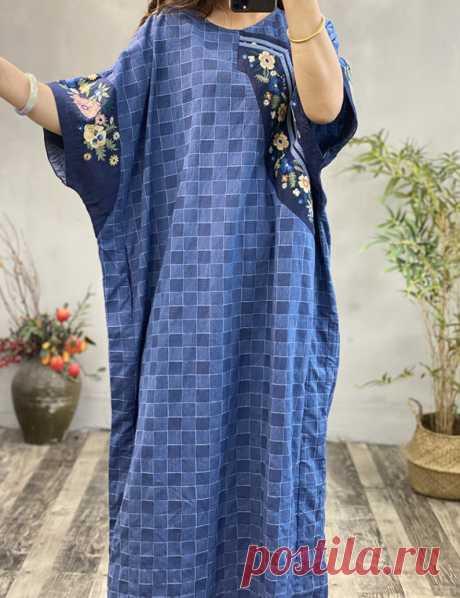 Linen Plaid long dress loose linen robe summer Oversized | Etsy