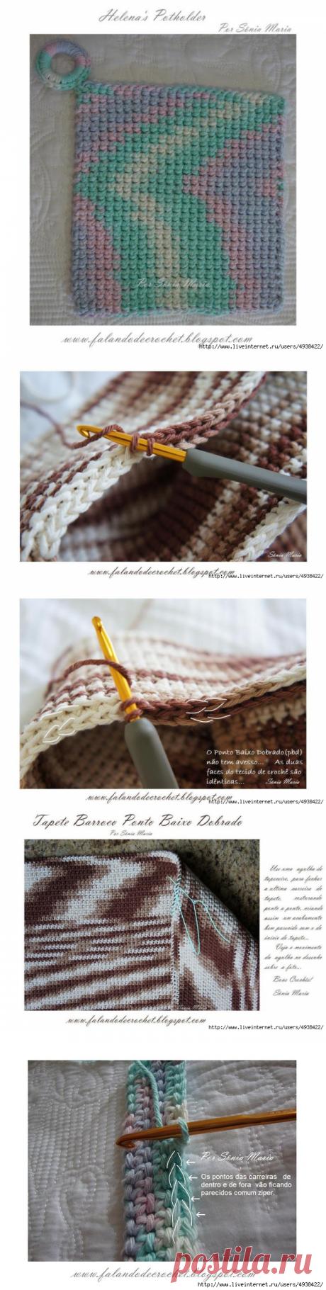 Коврик, связанный двойным вязанием — Делаем руками