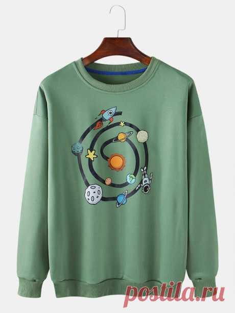 Mens Cotton Cartoon Rocket Planet Print Pullover Round Neck Long Sleeve Sweatshi - US$22.99