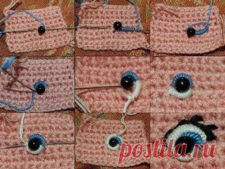 Here it is so possible to embroider eyes on knitted products