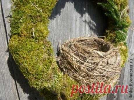 """Венок """"Гнездышко"""" - мох,дерево,сказка,баба яга,интерьерная композиция"""