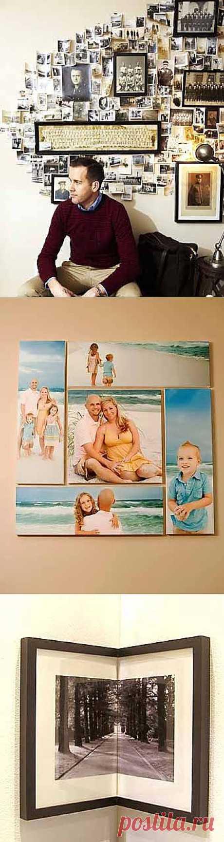 Для фотолюбителей: 14 способов оформления стены с фотографиями.