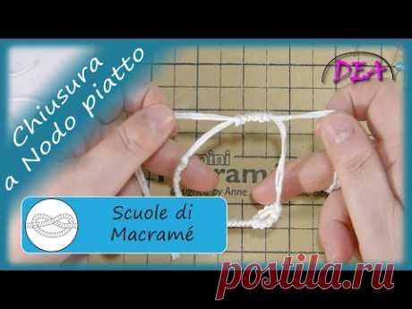 T.14° - Chiusura a nodo piatto. Chiusura scorrevole a nodo piatto per bracciali collane ecc.