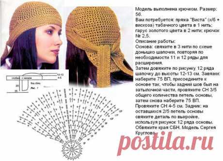 Шапка крючком Бандана — 4 схемы вязания оригинальной зимней шапочки | Вязание Шапок - Модные и Новые Модели