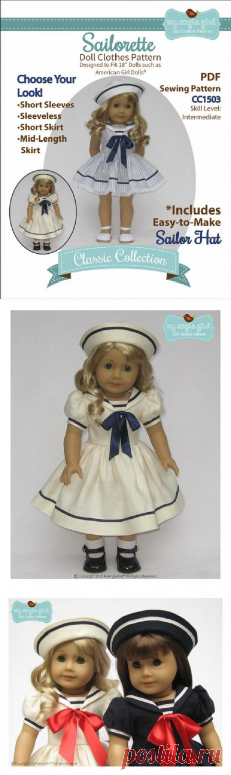 6420a1d85fc My Angie Girl Sailorette Doll Clothes Pattern 18 inch American Girl Dolls