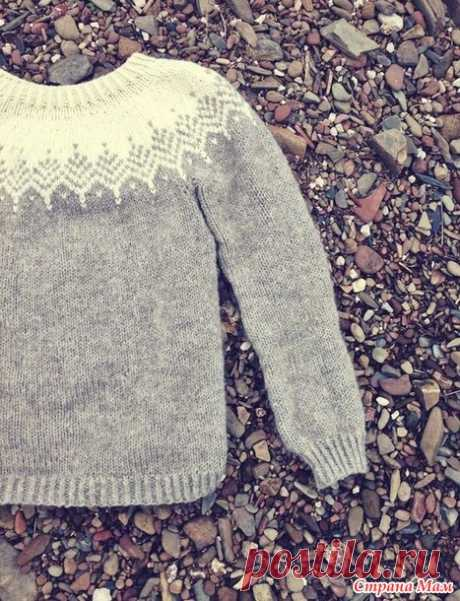 """. Пуловер с круглой кокеткой """"а-ля лопапейса"""" на размер 2-3 года - Вязание - Страна Мам"""