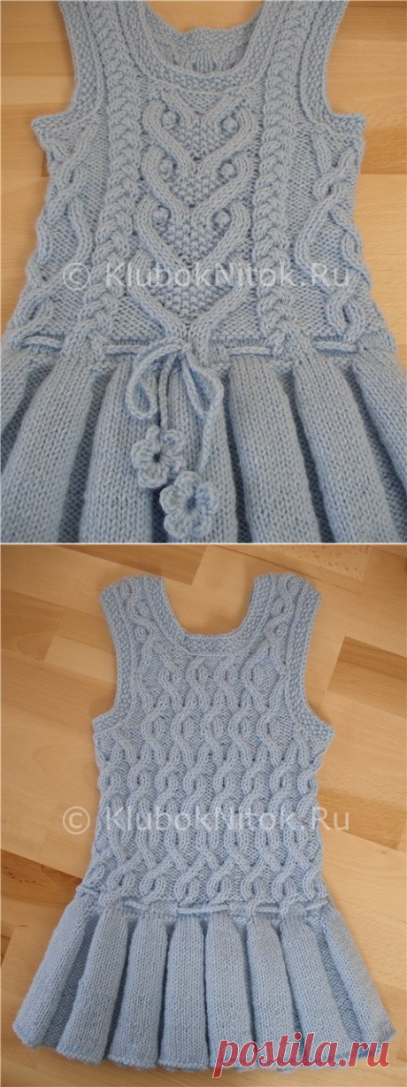 Warm sundress with folds | Knitting for girls | Knitting by spokes and a hook. Schemes of knitting.