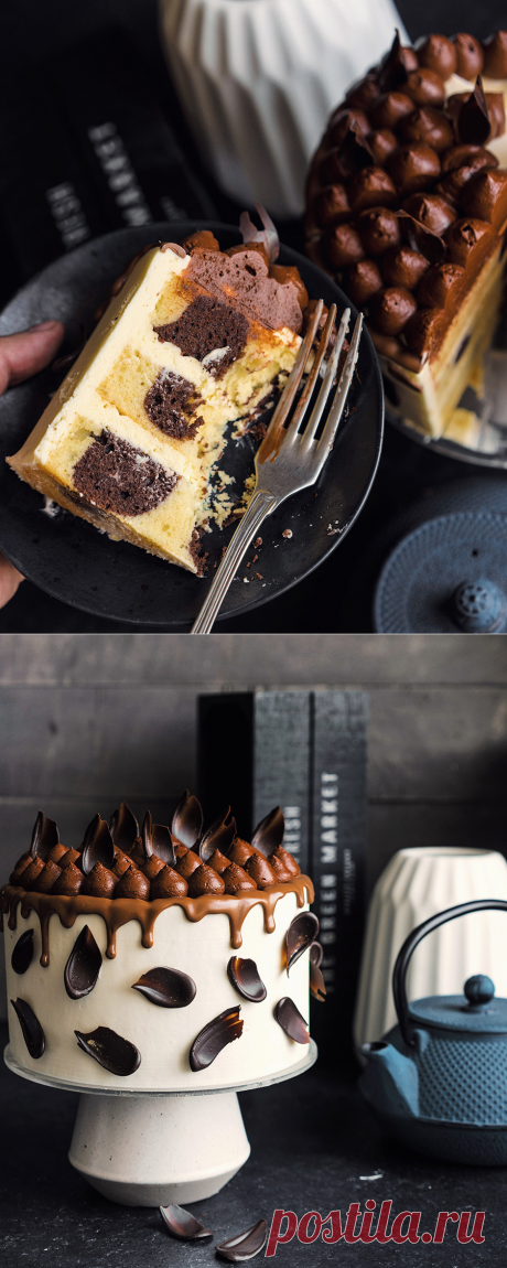 """La torta insólita bicolor """"Партия"""": la vainilla, el chocolate y el café - Andy Chef (Endi el Jefe)"""