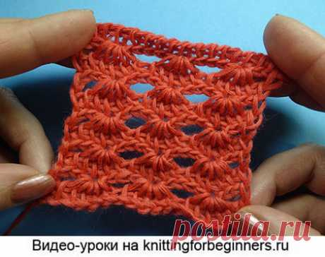 """We begin to knit – Video knitting lessons\"""" the Openwork pattern \""""Wave\"""" – the Pattern of the Tunisian knitting No. 33"""