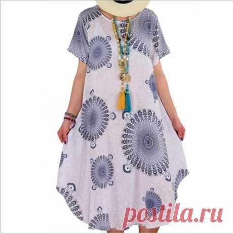 Женское летнее платье 2020 печати платье в горошек миди юбки размера плюс, повседневные свободные футболки с коротким рукавом с асимметричным подолом, платье длиной до колена|Платья| | АлиЭкспресс
