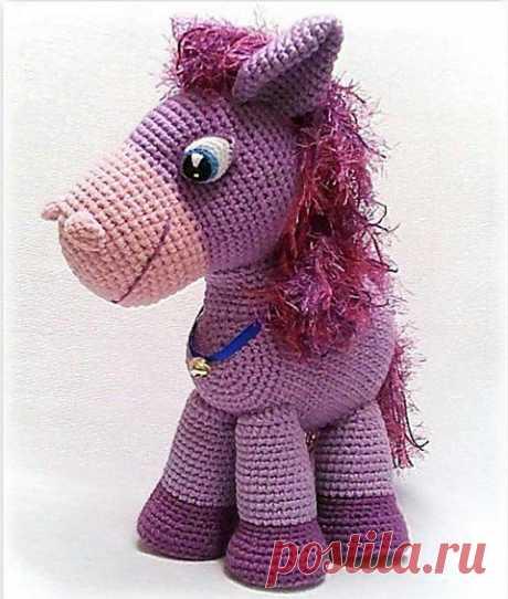 Сиреневый пони — вязаная крючком игрушка своими руками +схема.