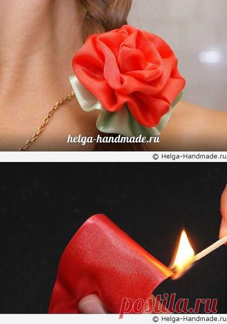 Легкий способ сделать цветок из атласной ленты своими руками, мастер-класс | helga-handmade.ru