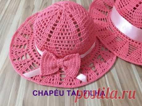 Chapéu chic coral infantil crochê/TAL FILHA