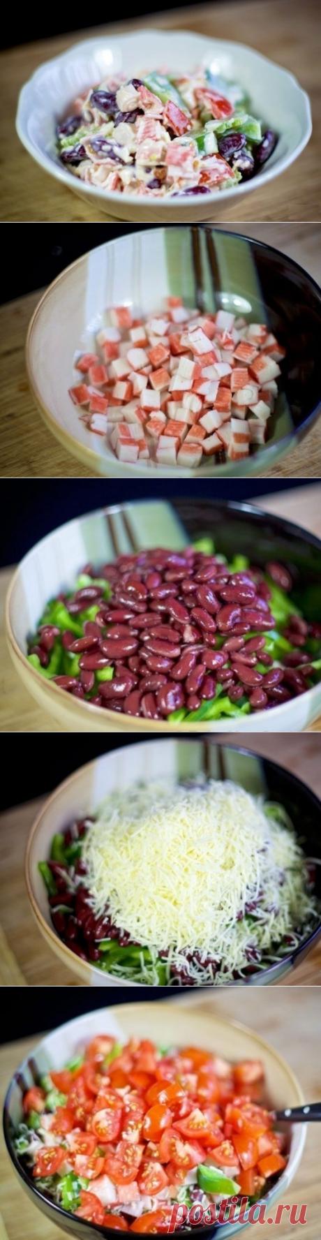Как приготовить cалат с крабовыми палочками и фасолью. - рецепт, ингридиенты и фотографии