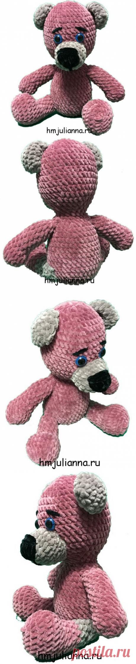Симпатичный плюшевый медвежонок, цвет пыльная роза, 27 смМастерская рукоделия Анны Ганоцкой