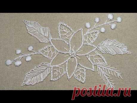 Белая Вышивка: Новогодний дизайн   Легкие стежки  White work: Christmas design