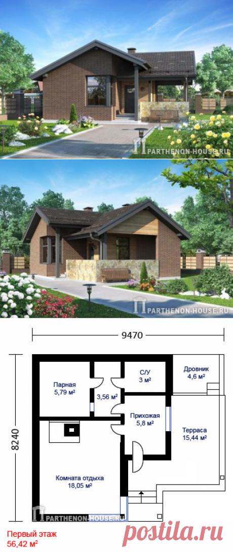 Проект современной каркасной деревянной бани с жилой комнатой.