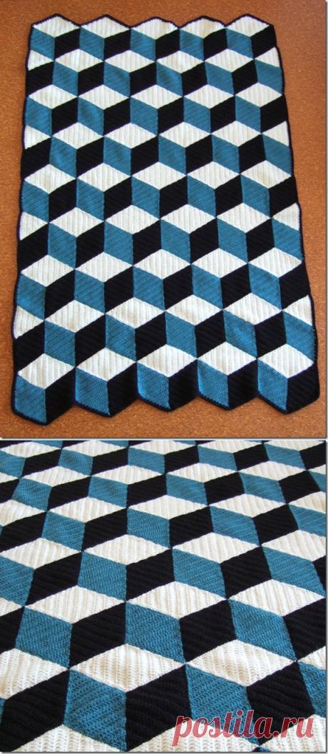 3d-плед или коврик крючком из мотивов