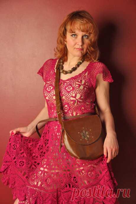 Платье летнее вечернее в стиле бохо, платье вязаное крючком из хлопка