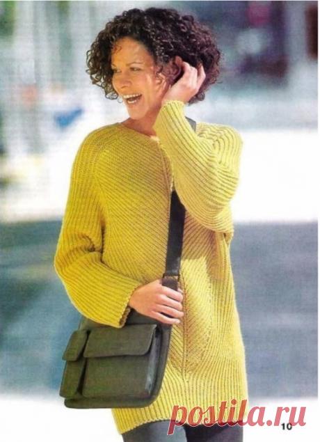 Пуловер-туника с патентным узором.