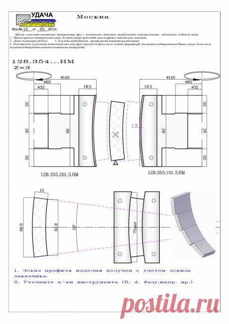 Комплект фрез для обработки брусков криволинейного фасада