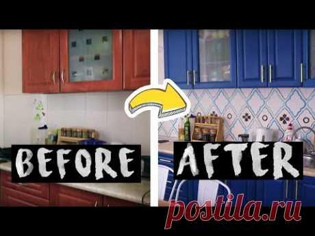 LOFT PROJECT #11: ПЕРЕДЕЛКА КУХНИ Красим КАФЕЛЬ, Кухонный Гарнитур - YouTube