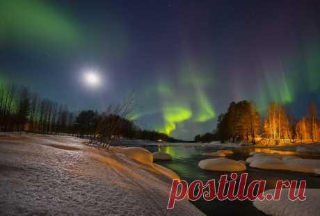 Полярное сияние над Швецией. Автор фото — Алексей Болдычев: nat-geo.ru/photo/user/117555/ Добрых снов.