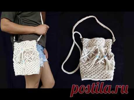 Macrame Bag New Design | Handmade Macrame Bag | DIY Macrame Sling Bag for Girls - YouTube Сумка-слинг для девочек из макраме