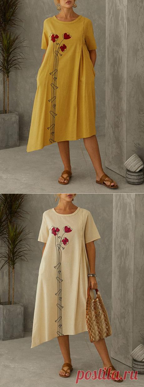 Hot saleGracila Цветочный принт с нерегулярным коротким рукавом Повседневный Платье For Женское Cheap - NewChic
