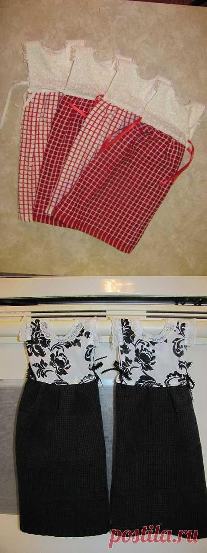 Los artículos para la casa. Coser las toallas para la cocina.