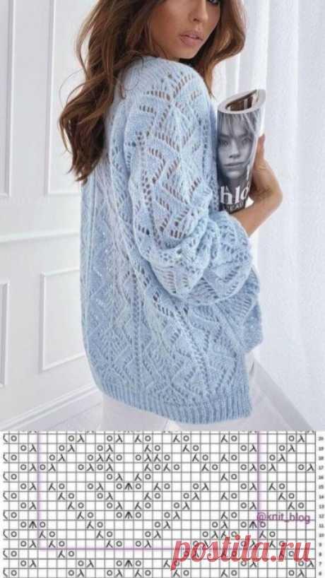 Ажурный узор для пуловера спицами