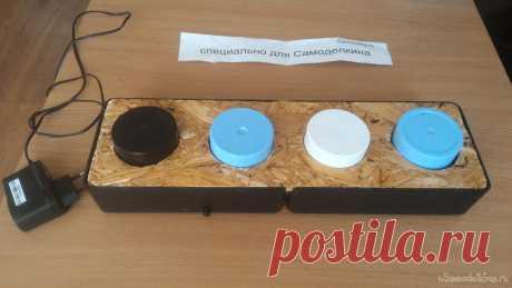 """Собачья клавиатура для озвучки команд человеку Сделал коробочку с кнопками, чтобы наш пес мог """"сказать"""" нам, чего он хочет, нажимая лапой на нужную кнопку.Нужны:1. 2 пластмассовые коробки 19х11х6 см (можно собрать полностью из дерева, фанеры или осб).2. Кусок OSB 38х11 см толщиной 9мм.3. 4 пластиковых крышки от баллонов со"""