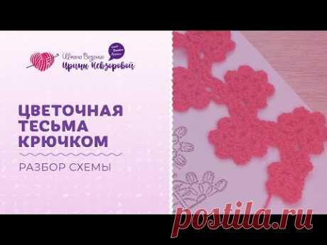 Цветочная тесьма крючком   Разбор схемы   Вязания крючком