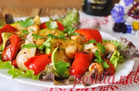 Тёплый салат с гребешками и овощами гриль - пошаговый рецепт с фото