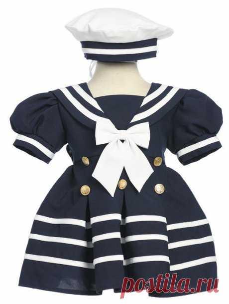 Выкройка платья в морском стиле для девочки несколько размеров Модная одежда и дизайн интерьера своими руками