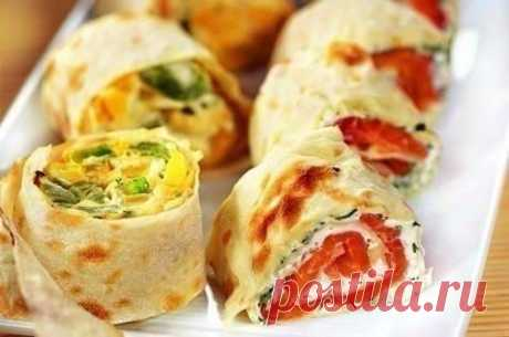 20 stuffings for roll from an unleavened wheat cake\u000a\u000a1. Packing of crabsticks, couple of garlic gloves, boiled egg, grated cheese, greens, mayonnaise.\u000a\u000a2. Cottage cheese pack, salt, greens, couple of garlic gloves, several spoons of mayonnaise.\u000aTo show completely …