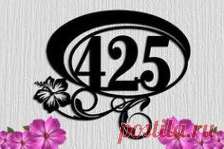 Hibiscus Flower Custom Metal Address Sign 2-3 Number Large House Numbers - Custom Steel Address Sign - Plaque Custom Sign Made in USA!