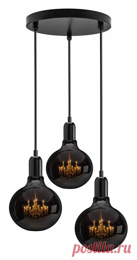 King Edison Ghost Trio Pendant Lamp  These three Kings arrive bearing black. This trio of King Edison Ghost Pendants hang together harmoniously, originating from a singular ceiling rose.   The 'King Edison Ghost' pendant lamp designed by Young & Battaglia, combines the pure simplicity of an Edison light bulb with the romance and glamour of a Kings chandelier.   For more details visit www.mineheart.com